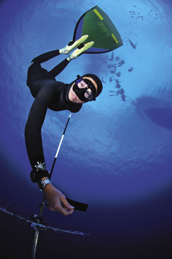 Into the Blue: A diver in the Deja Blue competition hits her target. — ALL PHOTOS BY COURTNEY PLATT