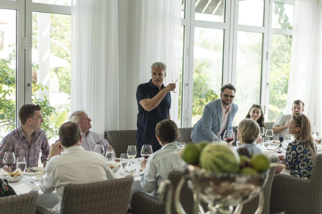 Chef Eric Ripert, standing, toasts the event, praising Chef Pascal Beric and the team at Le Soleil D'Or, and thanks Terry Peabody, owner of Craggy Range Vineyards.