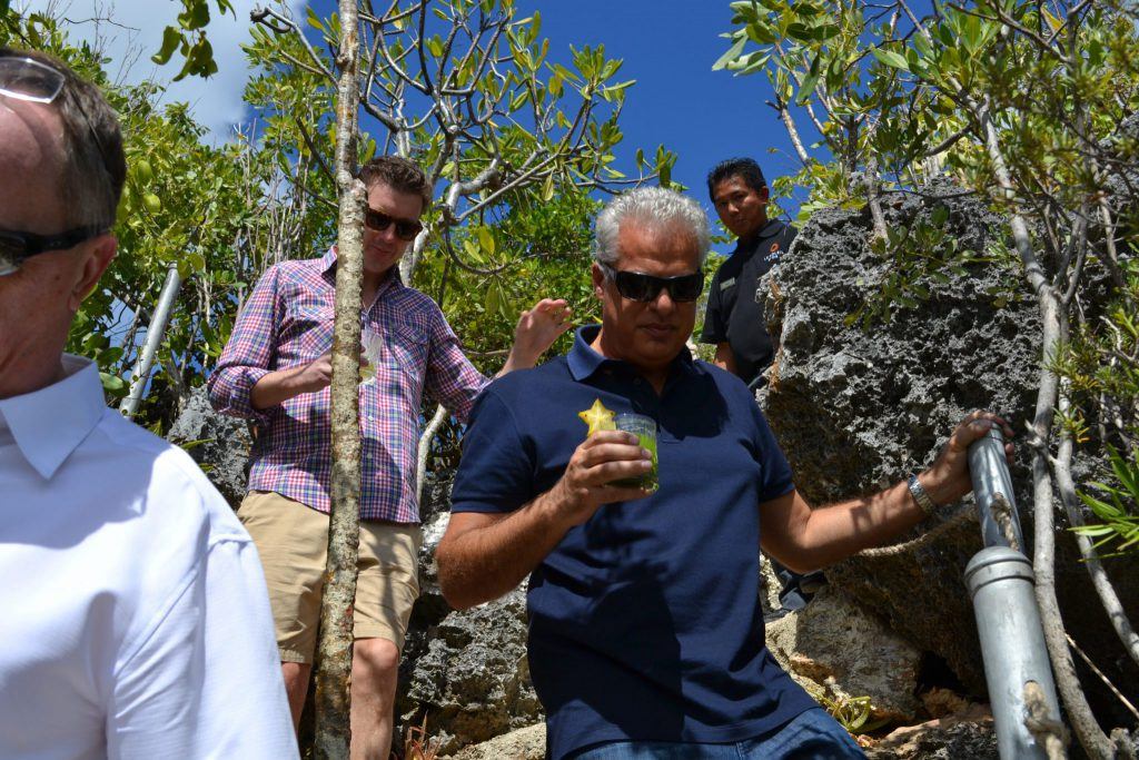 Eric Ripert negotiates the steps down the wall of the bluff to Le Soleil D'Or's restaurant, Spicy Farm cocktail firmly in hand.