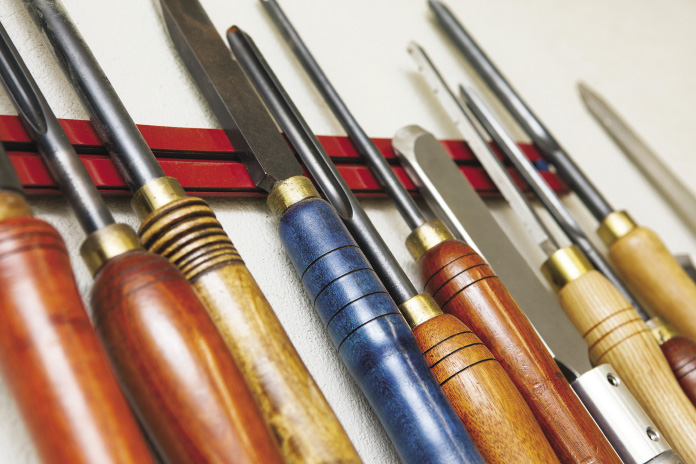 Chisels and other woodturning tools.