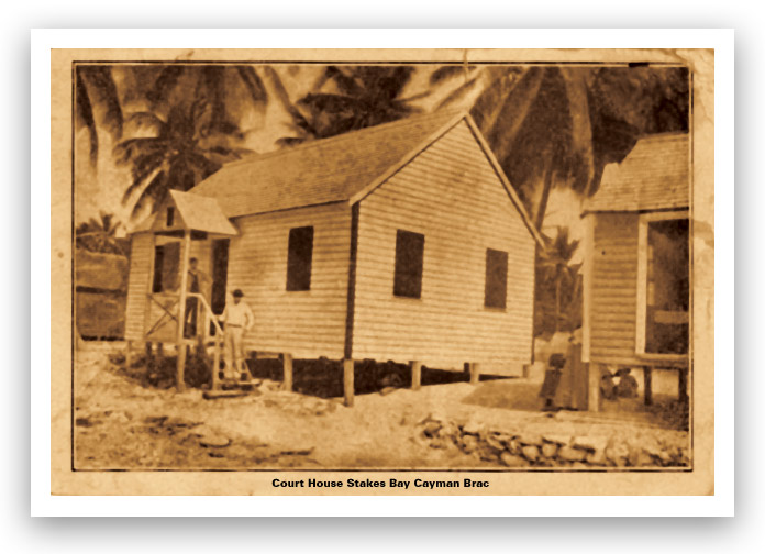 Old postcard showing the Court House at Stakes Bay, Cayman Brac