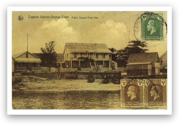 Old postcard showing George Town, Grand Cayman