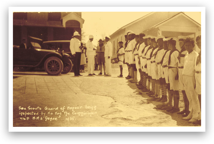 Old postcard showing an inspection of the Sea Scouts, 1935.